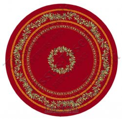 Olive Blossom Tablecloth Round 180cm Red